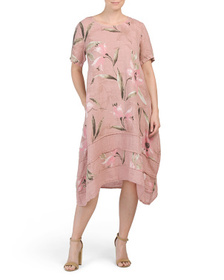 ALESSIA PACINI Made In Italy Linen Floral Print Mi