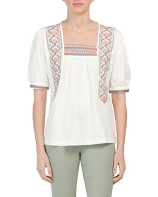 SOLITAIRE Square Neck Embroidered Top