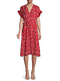 Max Studio Ruffle-Sleeve Floral Dress SCARLET