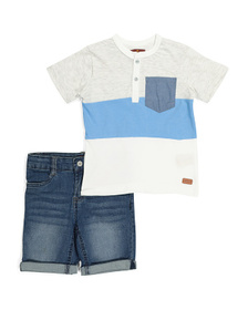 7 FOR ALL MANKIND Little Boys Henley And Denim Sho