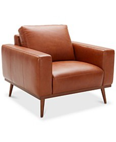"CLOSEOUT! Marsilla 39"" Leather Armchair, Created f"