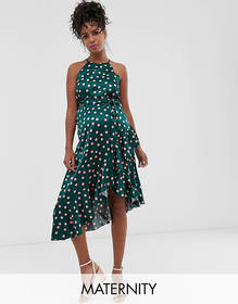 Queen Bee Maternity high neck midaxi dress in cont