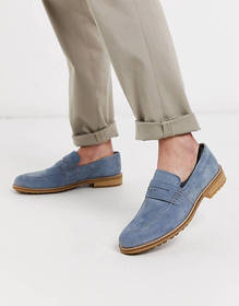 Silver Street suede loafer in blue with contrast s