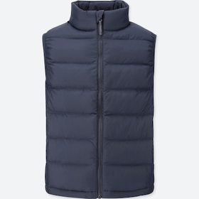 Kids Light Warm Padded Vest, Navy, Medium