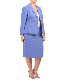 TAHARI BY ASL Plus 3 Button Pintucked Crepe Skirt