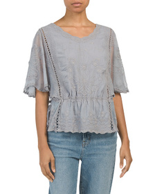 FORGOTTEN GRACE Cold Mineral Wash Embroidered Top
