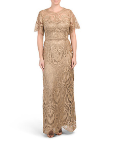 JS COLLECTIONS Bell Sleeve Embroidered Gown