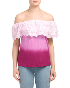 SOLITAIRE Off The Shoulder Ombre Eyelet Knit Top