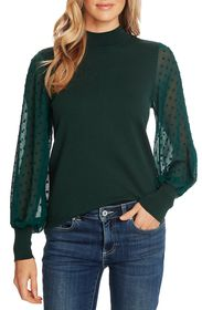 CeCe by Cynthia Steffe Clip Dot Sleeve Sweater