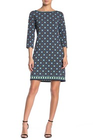 Max Studio Patterned 3/4 Length Sleeve Shift Dress