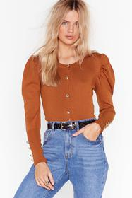 Nasty Gal Rust Knit Puff Sleeve Cardigan with Butt