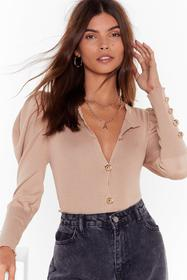 Nasty Gal Beige Knit Puff Sleeve Cardigan with But