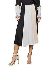 BCBGMAXAZRIA Colorblock Pleated Midi Skirt BLACK C