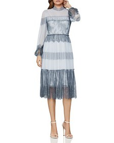 BCBGMAXAZRIA - Lace-Paneled Tulle Dress
