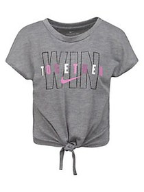 Nike Little Girl's Graphic Tie-Front Top CARBON GR