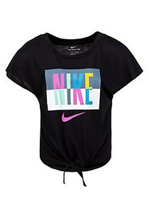 Nike Little Girl's Graphic Tie-Front Top BLACK