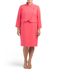 TAHARI BY ASL Plus Wrap Jacket With Bar Snap And D