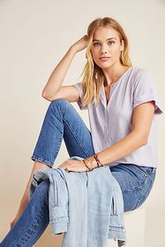 Anthropologie Rowen Cropped Henley Tee