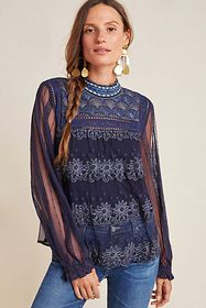 Anthropologie Massey Embroidered Top