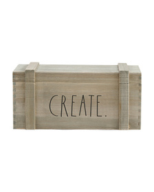 RAE DUNN Small Light Wood Hinged Crate