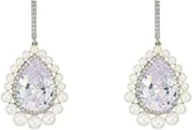 Nina Pearl Haloed Pear Cut CZ Earrings
