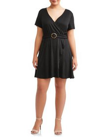 Juniors' Plus Size Ribbed Wrap Dress with Circle B