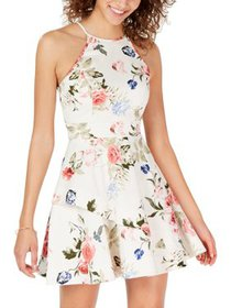Speechless Womens Juniors Floral Fit & Flare Halte