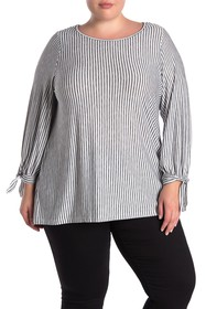 Max Studio Striped Tie Cuff Blouse (Plus Size)