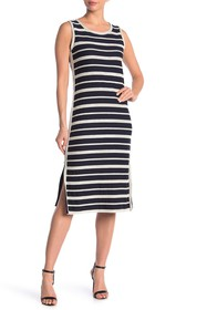 Max Studio Striped Sleeveless Midi Dress