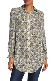 Max Studio Tie Hem Patterned Button Down Blouse