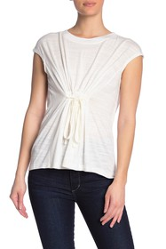 Max Studio Textured Tie Front Cap Sleeve Top