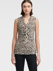 Donna Karan PLEATED LEOPARD TOP WITH TIE NECK