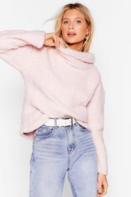 Nasty Gal Pink True or Faux Shearling Cowl Neck Sw