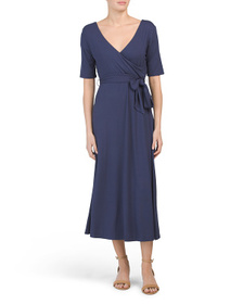NICOLE MILLER Elbow Sleeve Belted Midi Dress