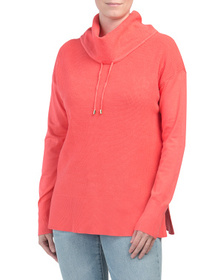 JONES NEW YORK SIGNATURE Drawstring Mock Neck Cont