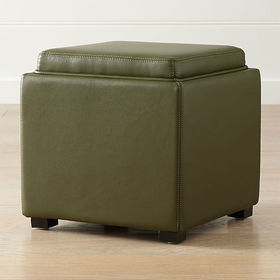 """Crate Barrel Stow Olive Green 17"""" Leather Storage"""