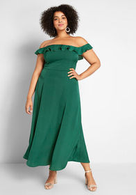 ModCloth Ruffled and Radiant Off-the-Shoulder Dres