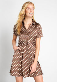 Dotted Delight A-Line Dress Brown Polka Dots