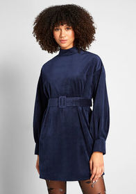Coveted Corduroy Mini Dress in Navy