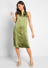 Louche Knot Typical Satin A-Line Dress Green
