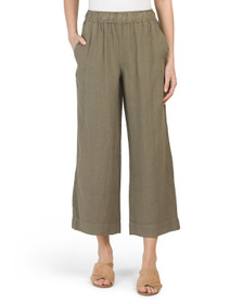 TAHARI Linen Pigment Dyed Crop Pull On Pants