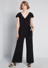 ModCloth Elegant Everywhere Ruffled Jumpsuit in Bl