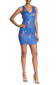 GUESS Floral Lace Back Cutout Bodycon Dress