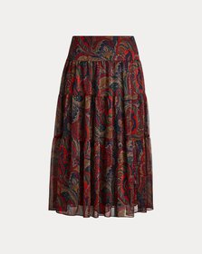 Ralph Lauren Tiered Georgette Peasant Skirt