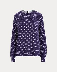 Ralph Lauren Polka-Dot Jersey Top