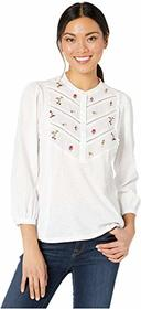 Lucky Brand 3/4 Sleeve Henley Embroidered Top