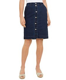 Button-Front Knee-Length Denim Skirt, Created For