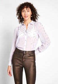 ModCloth Be Buzzworthy Button-Up Top Lavender
