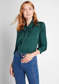 ModCloth ModCloth The HBIC Blouse Green