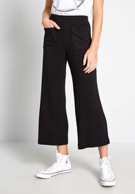ModCloth At Ease Cropped Wide-Leg Pants Black